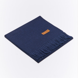 BUTTON DOWN ALPACA SCARF - NAVY