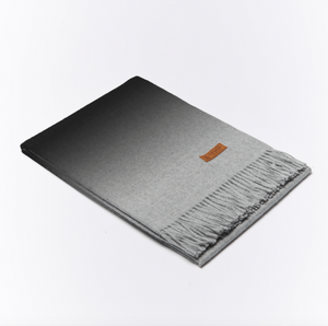 BUTTON DOWN GRADATED ALPACA SCARF - SLATE GREY/LIGHT GREY