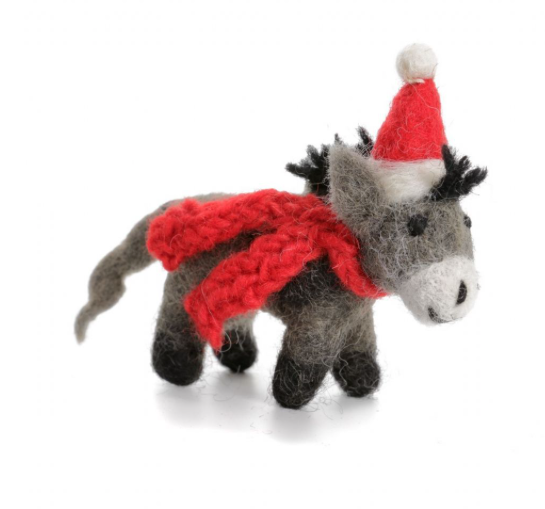 AMICA FELT CHRISTMAS DONKEY WITH HAT AND SCARF
