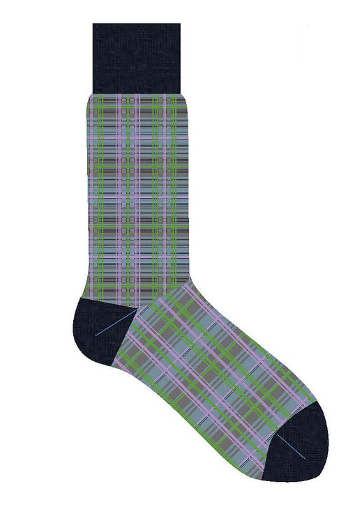 LORENZO UOMO 5 COLOR PLAID CALF SOCK - NAVY