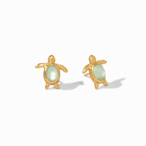 JULIE VOS TURTLE STUD EARRINGS - IRIDESCENT SEAGLASS GREEN