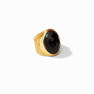 JULIE VOS VERONA STATEMENT RING - OBSIDIAN BLACK