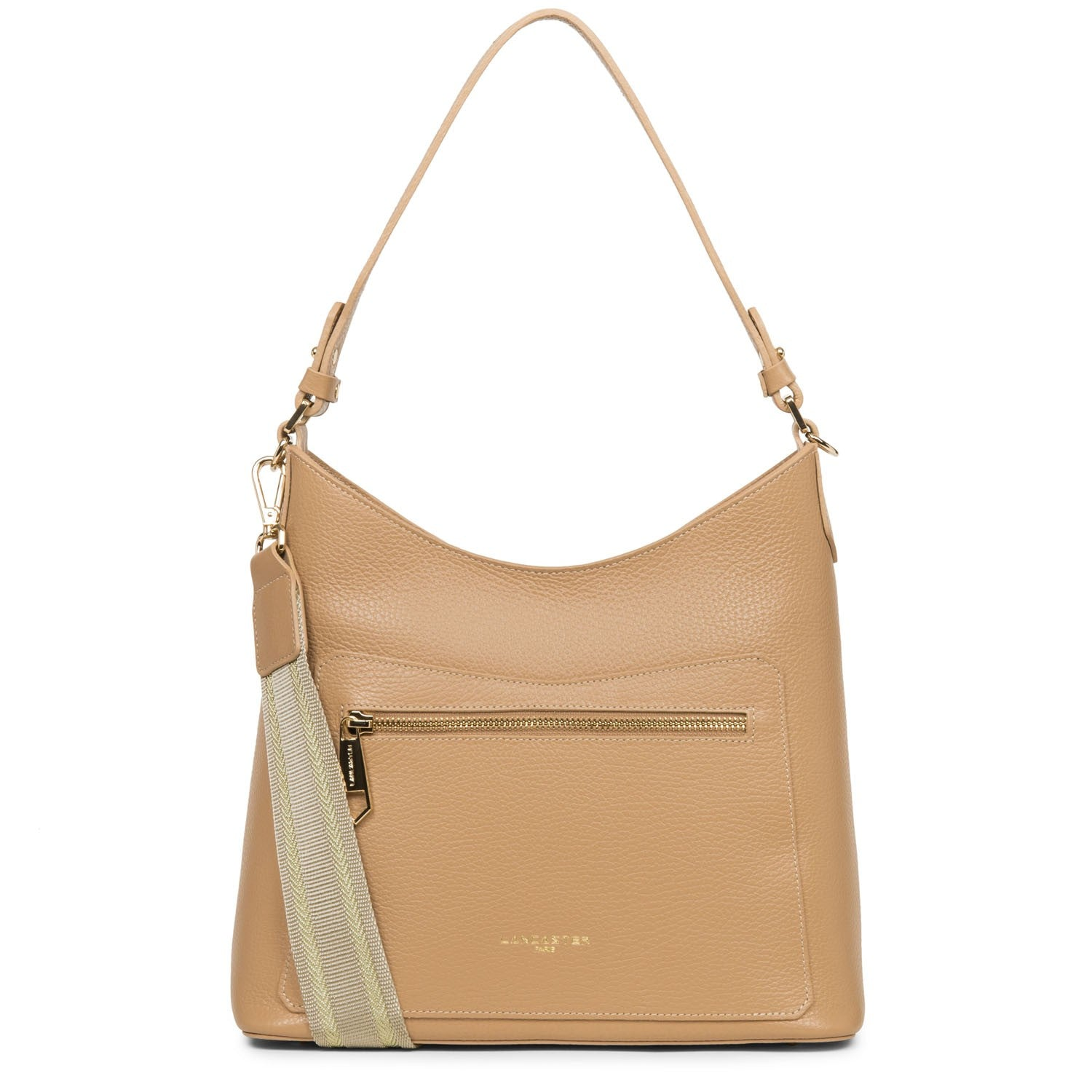 LANCASTER FOULONNE DOUBLE SHOULDER BAG - BEIGE