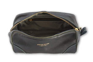 STOLEN RICHES BLACK LEATHER DOPP BAG
