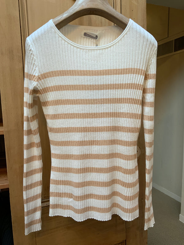 Round Neck Pullover Natural Stripe (4587328110669)