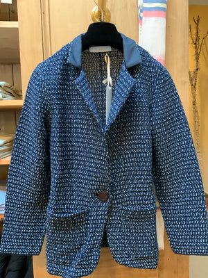 BLUE KNITTED COTTON BLAZER (4589170884685)