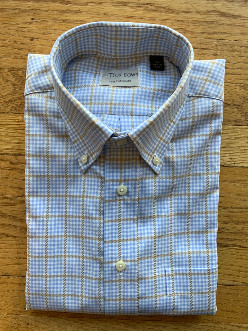 Light Blue/Tan Check Sport Shirt (4580418912333)