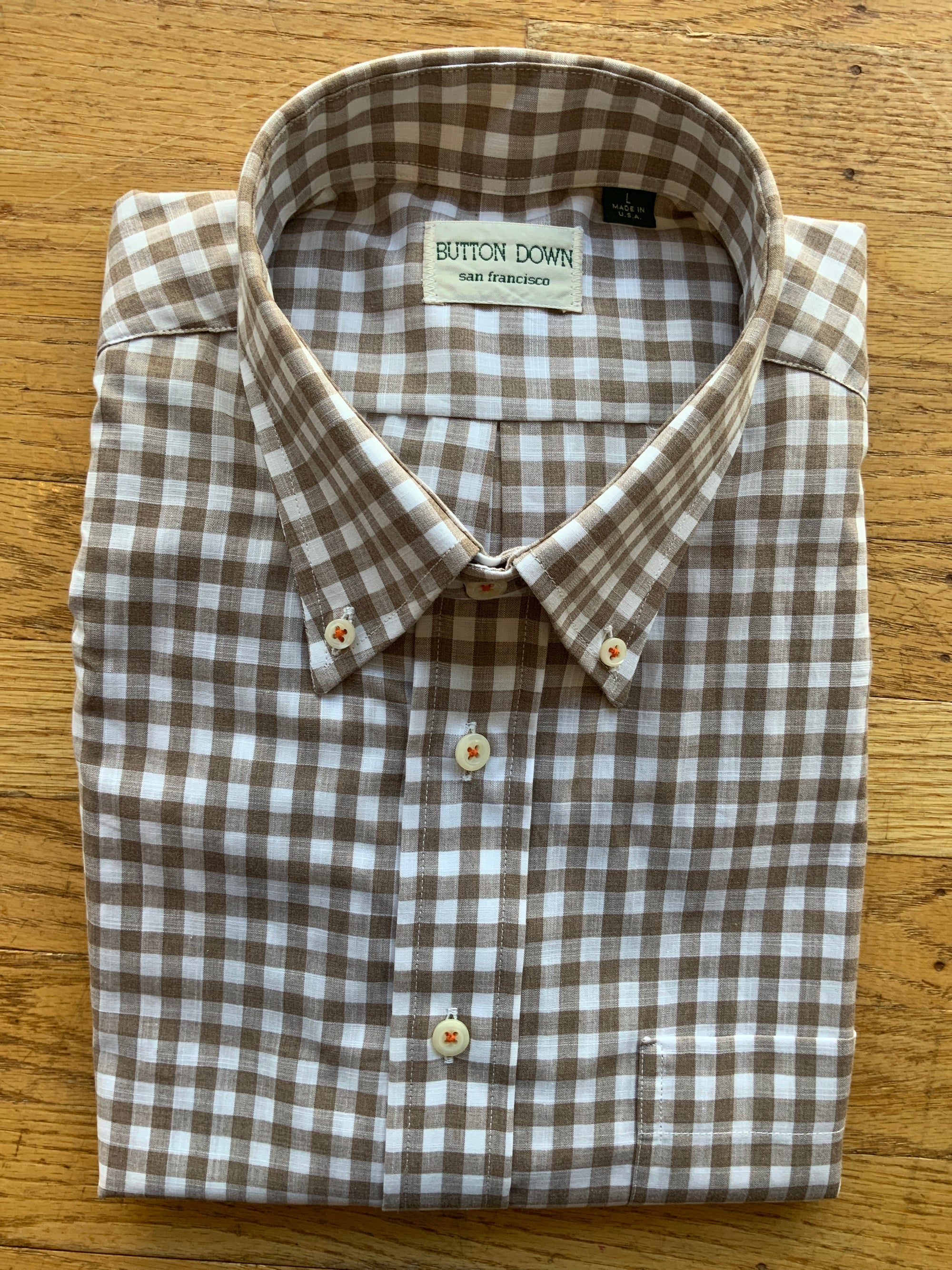 Tan Check Sport Shirt (4580175413325)