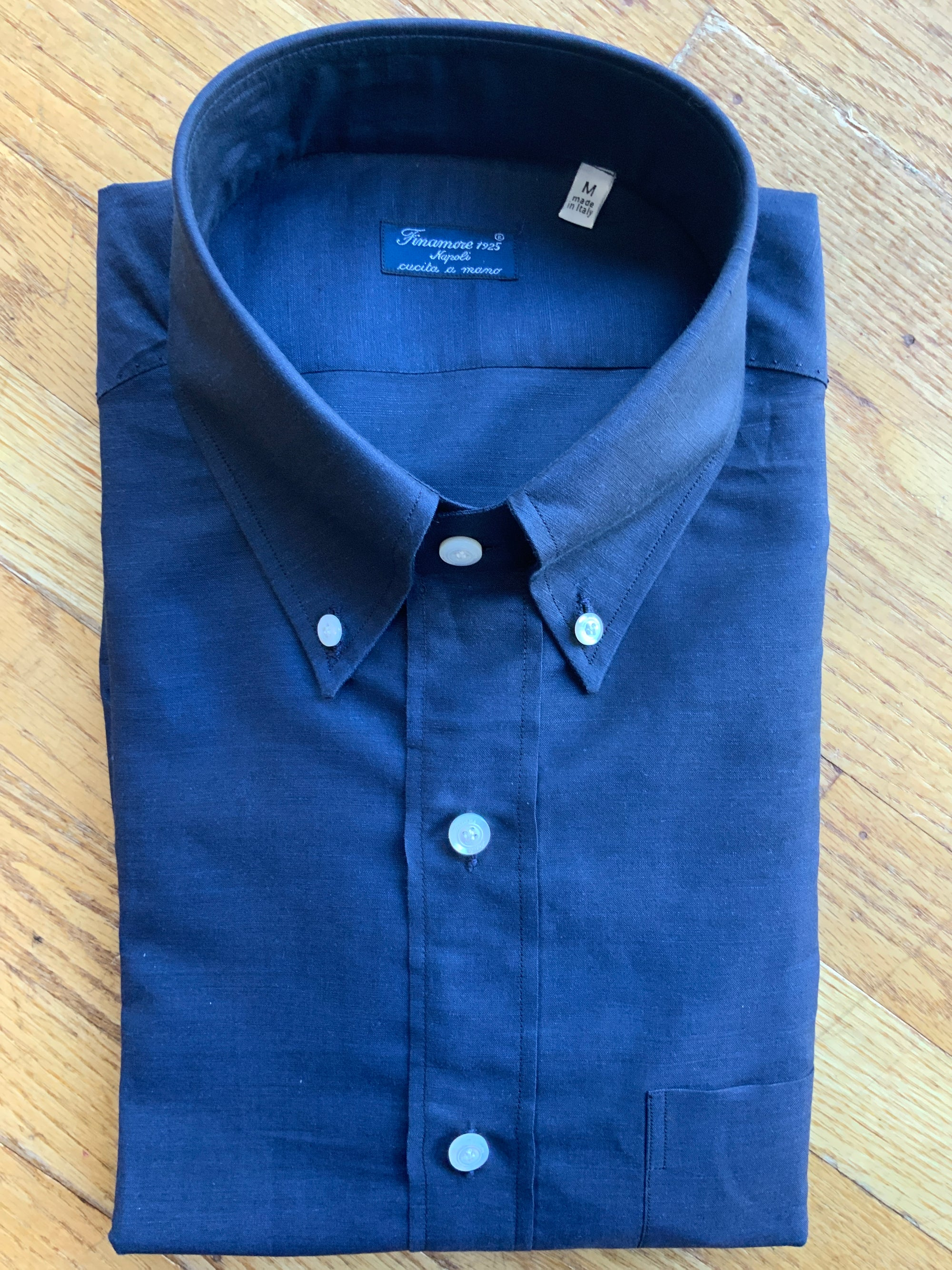 Finamore Navy Solid Shirt (4577109934157)