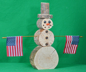 BUTTON DOWN DECORATIVE WOOD SNOWMAN - SMALL