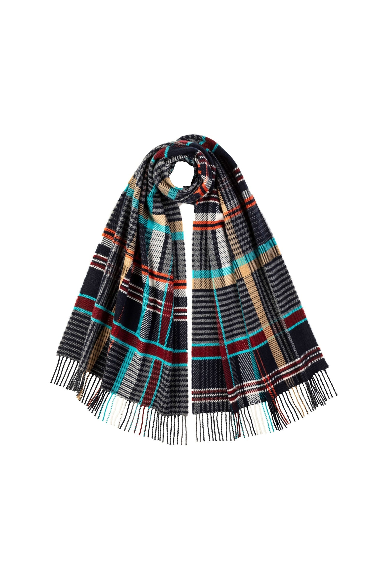JOHNSTONS OF ELGIN MULTI CASHMERE WOVEN SCARF