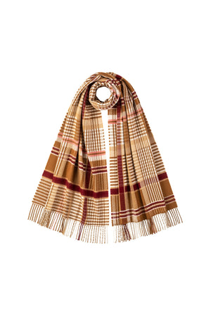 JOHNSTONS OF ELGIN CAMEL CASHMERE WOVEN SCARF