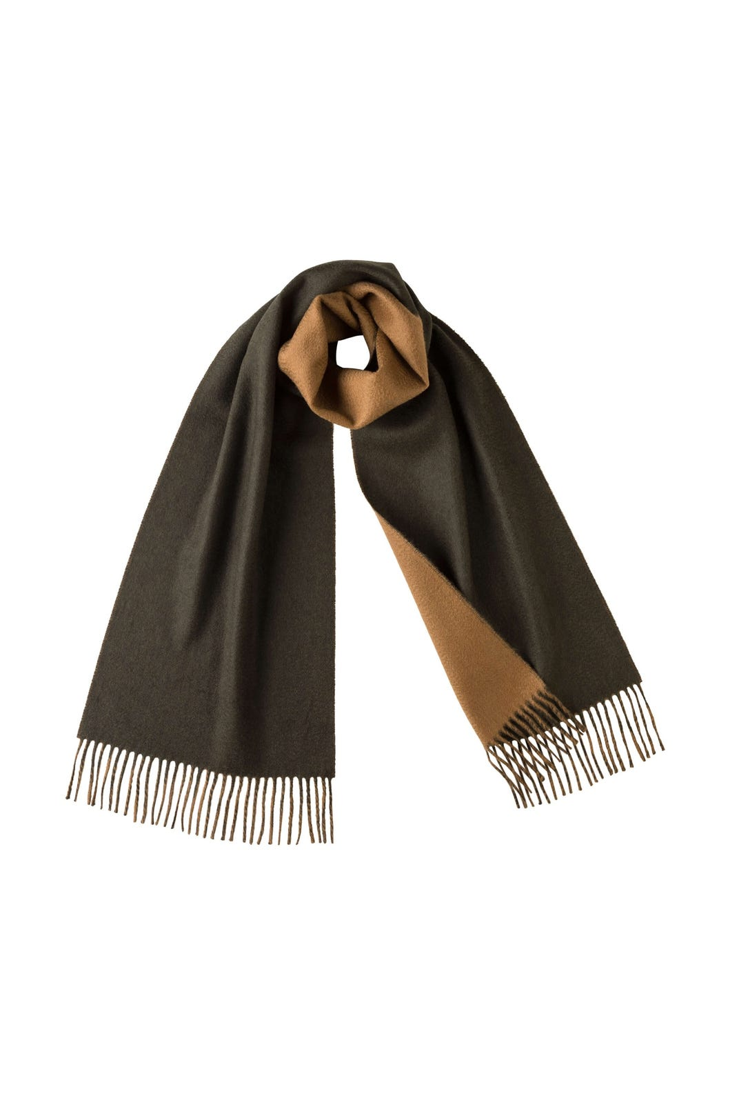 JOHNSTONS OF ELGIN DARK GREEN / CAMEL CASHMERE WOVEN SCARF