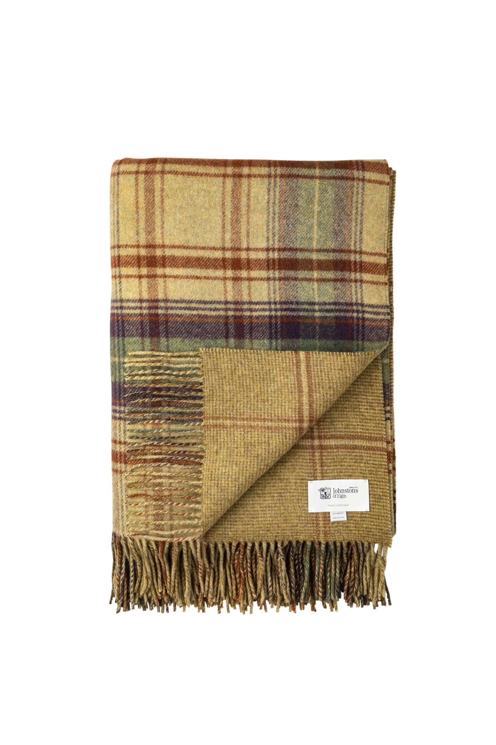 JOHNSTONS OF ELGIN LARGE CHECK / WARP HAIRLINE LAMBSWOOL WOVEN THROW