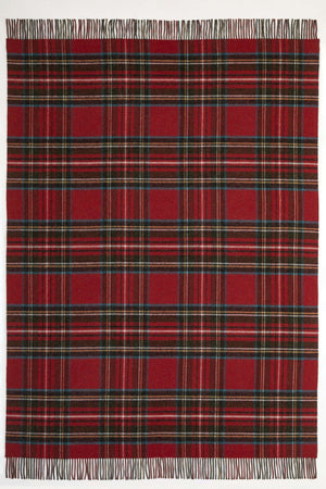 JOHNSTONS OF ELGIN HEATHER / HUNTING STEWART LAMBSWOOL WOVEN THROW