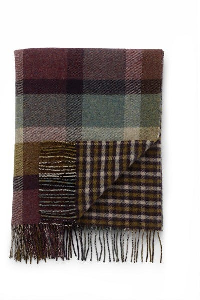 JOHNSTONS OF ELGIN HEATHER BLOCK CHECK / GINGHAM LAMBSWOOL WOVEN THROW