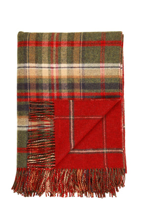 JOHNSTONS OF ELGIN GREEN CHECK / RED WINDOWPANE LAMBSWOOL WOVEN THROW