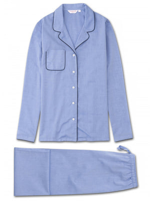 DEREK ROSE AMALFI 1 WOMEN'S PAJAMA SET - BLUE