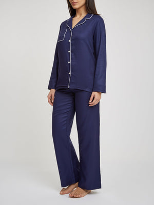 DEREK ROSE LOMBARD 6 WOMEN'S PAJAMA SET - NAVY