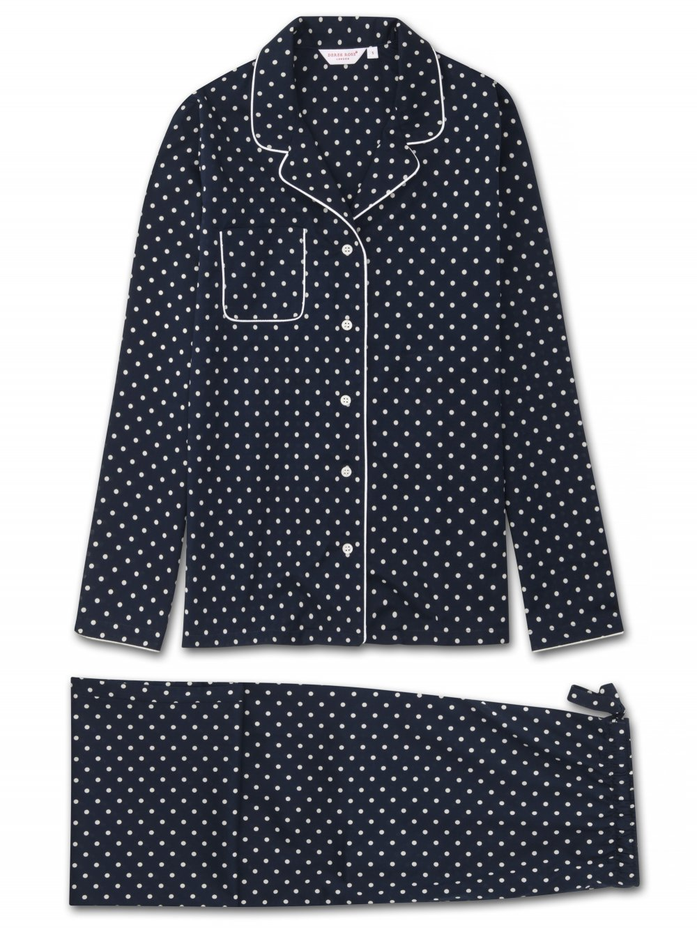 DEREK ROSE PLAZA WOMEN'S PAJAMA SET - NAVY DOT