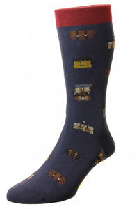 VOYAGER LUGGAGE MOTIF- COTTON MEN'S SOCK (4578636169293)