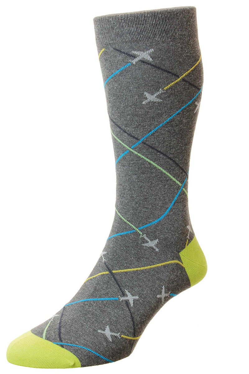 WHITTLE PLANES MOTIF - COTTON MEN'S SOCK (4578639970381)