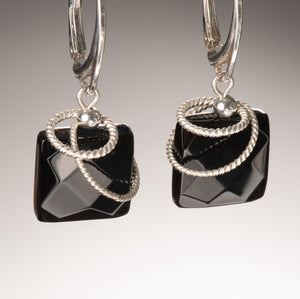 faceted onyx twist earring