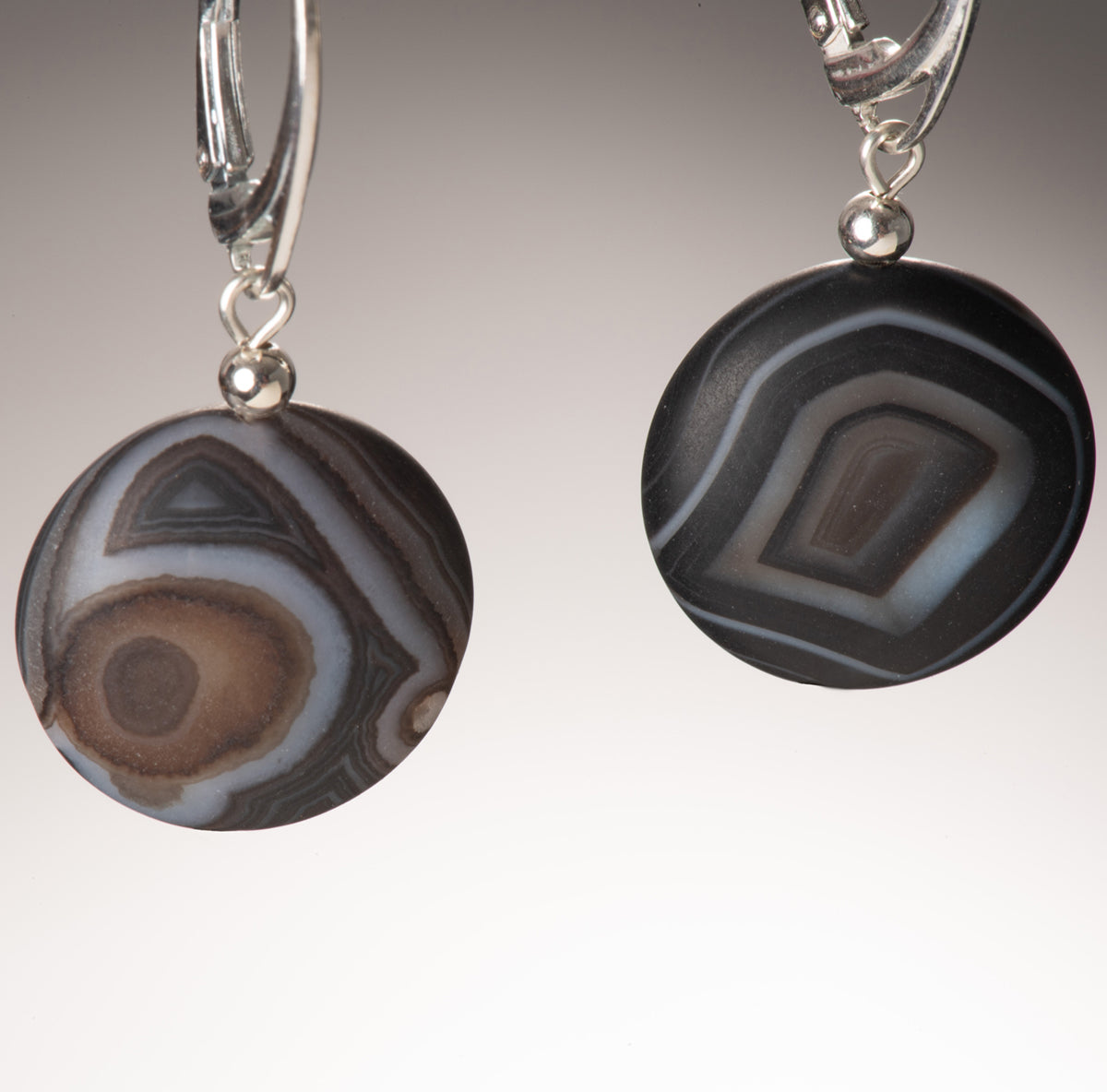 matte agate coin earring