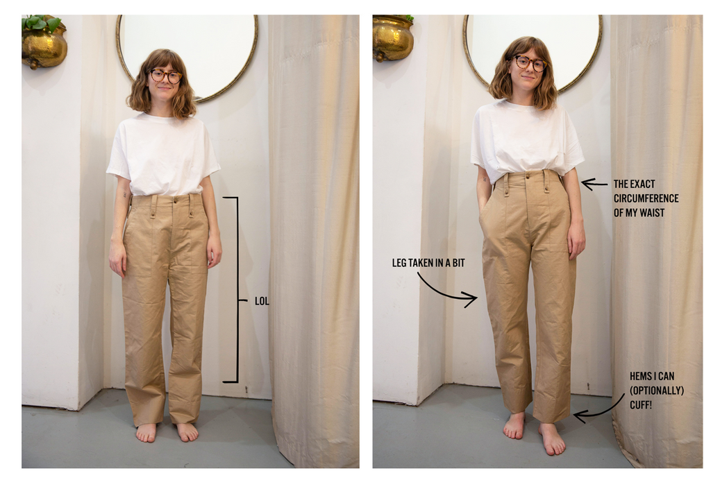 Woman in khaki pants showing Before and After tailoring clothing to be better fitting.