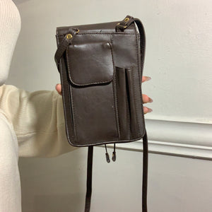 Urban Explorer Brown Leather Cross-Body Bag (80s/90s) - Shop Vanilla Vintage