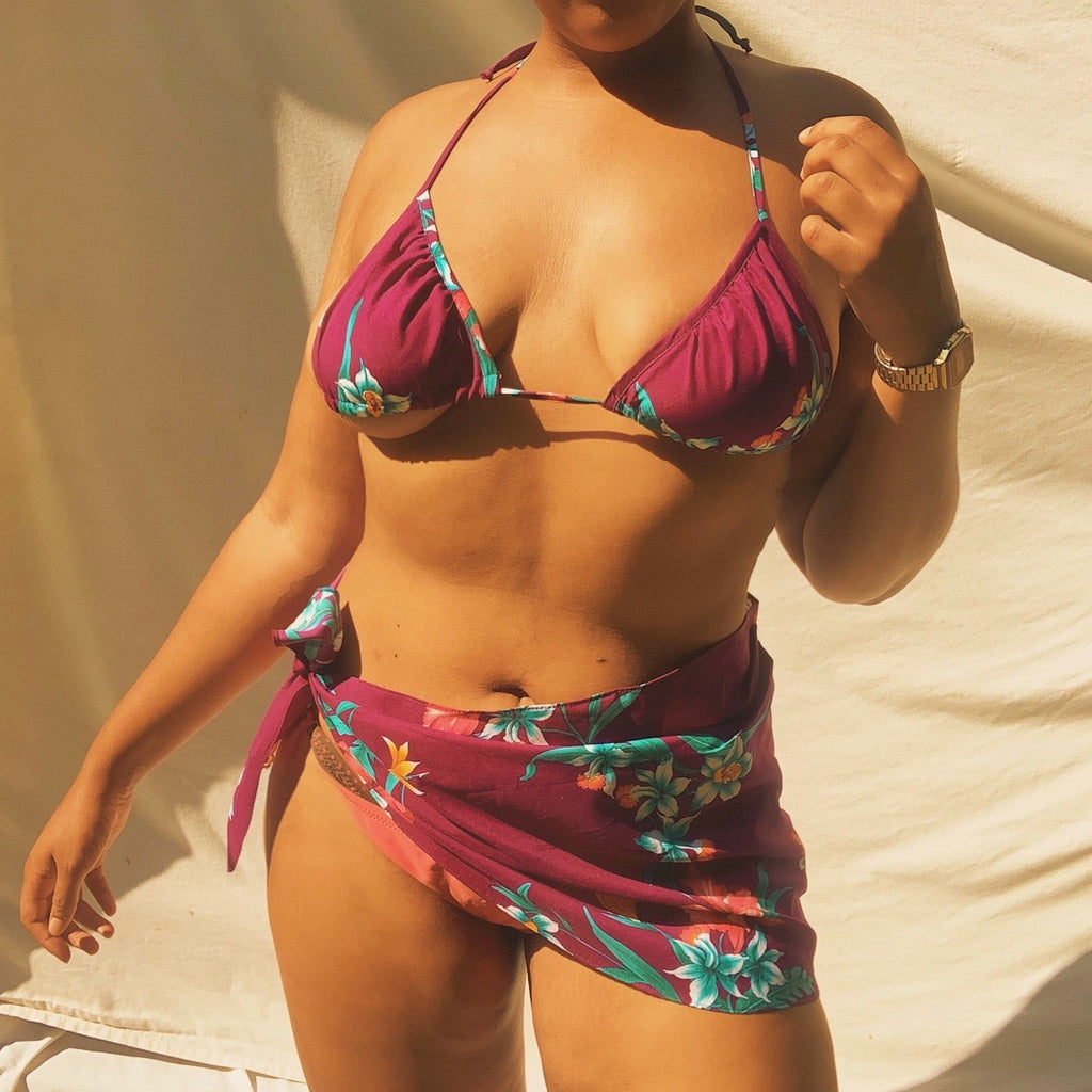 'Lani' Purple Floral Bikini Top + Sarong Set (M) - Shop Vanilla Vintage