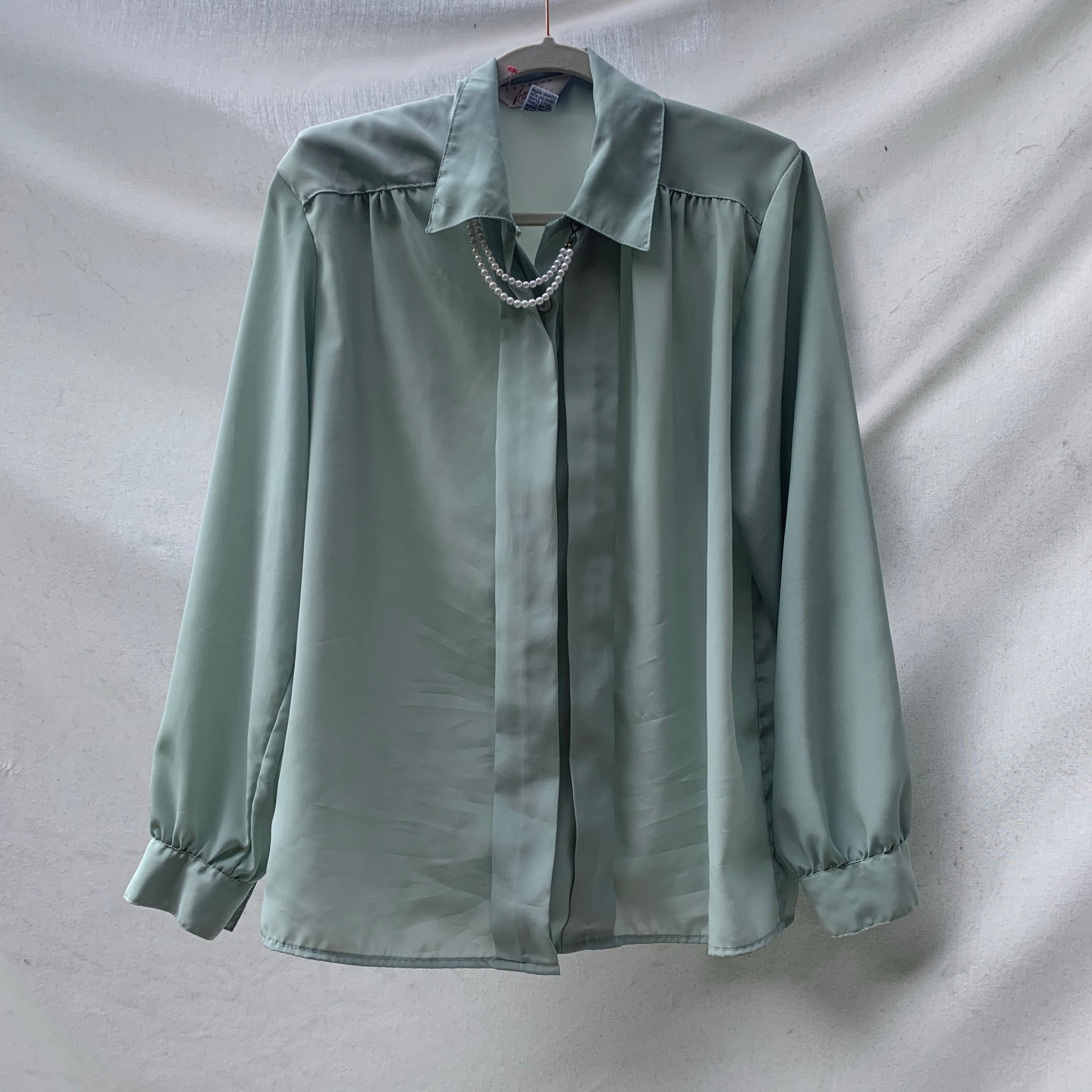 'Evelyn' Pearl Collar Sea Green Blouse (L) - Shop Vanilla Vintage