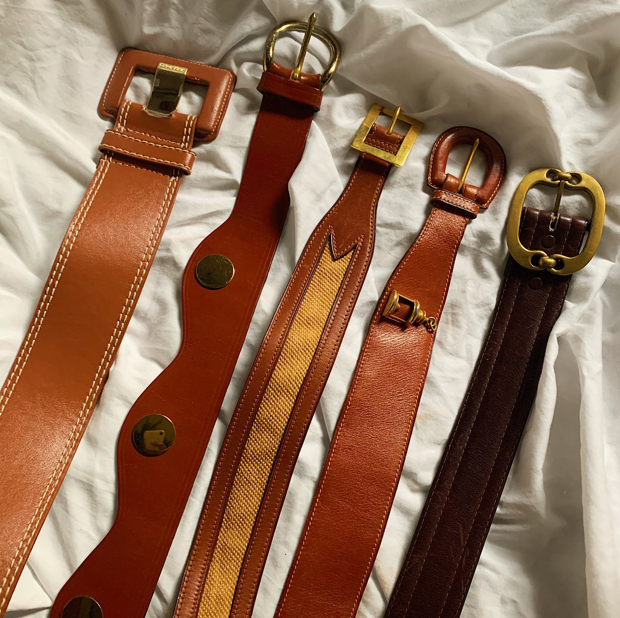 Caramel Brown Vintage Leather Woven Belt (S/M)