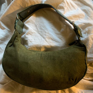 'Vera' Olive Green Faux Suede Hobo Bag
