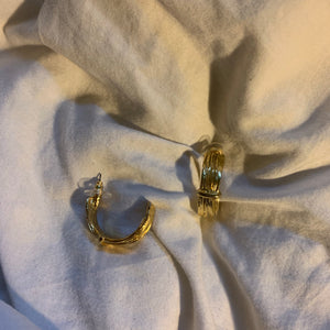 Vintage Gold Bamboo Hoop Earrings