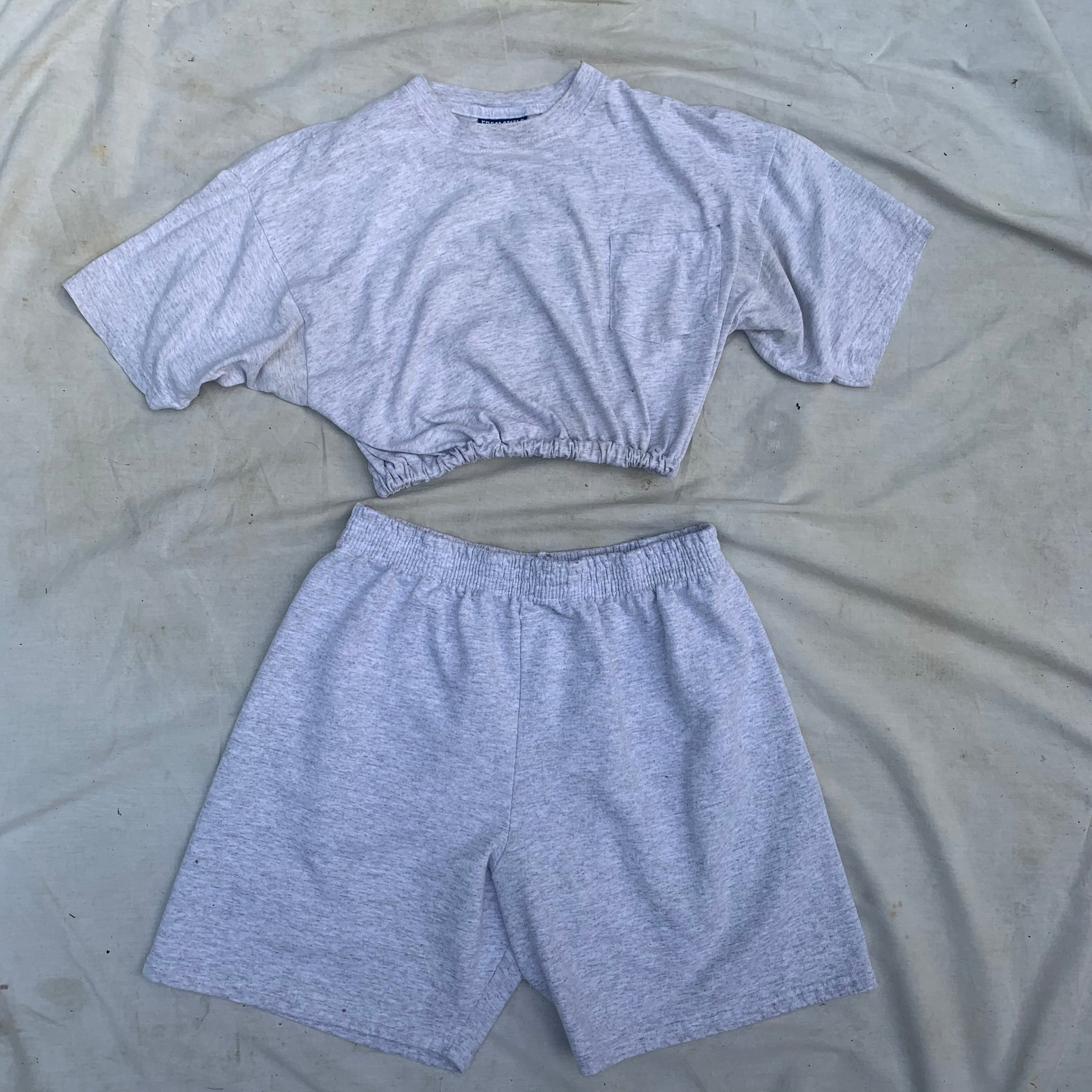 'Naya' Grey Reworked Scrunchie Tee + Sweat Shorts Co-Ord Set (M/L)