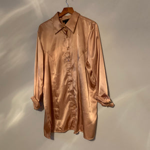 'Yvie' Bronze Silky Button-Down Top (One Size)