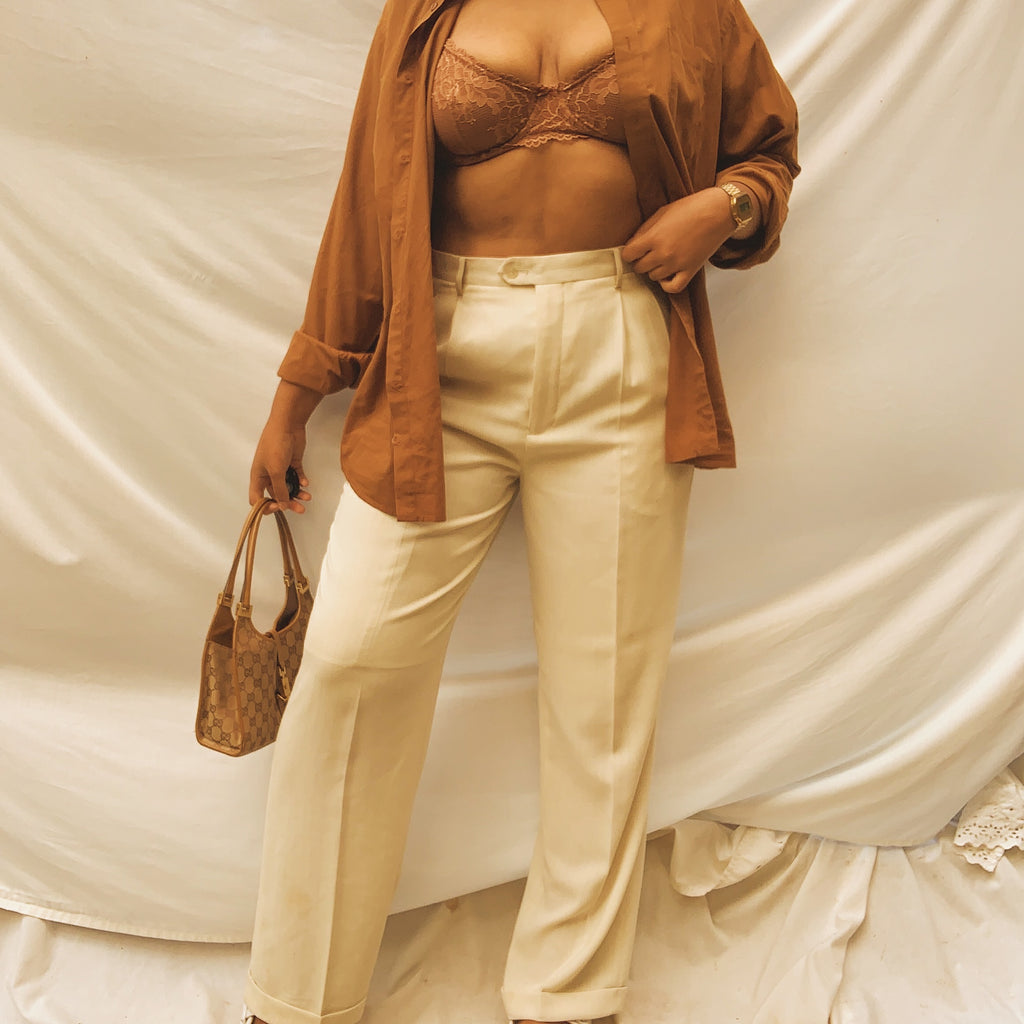 'Louise' High-Waisted Beige Wide Leg Trousers (L/XL/12)
