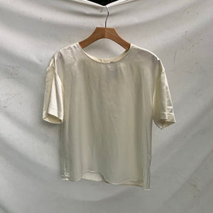 'Marylyn' Silky Creme Blouse (M/L) - Shop Vanilla Vintage