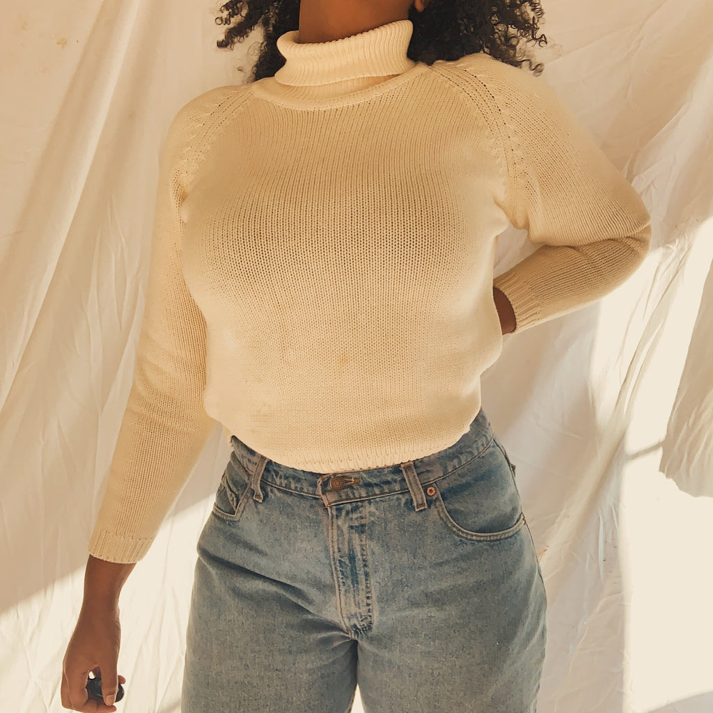 'Emerson' Classic Creme Turtleneck Knit Sweater (S-XL)