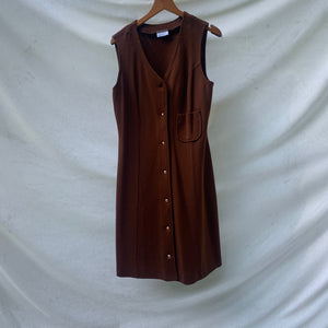 'Aeryn' 70s Brown Sleeveless Button-Thru Dress (L/XL) - Shop Vanilla Vintage