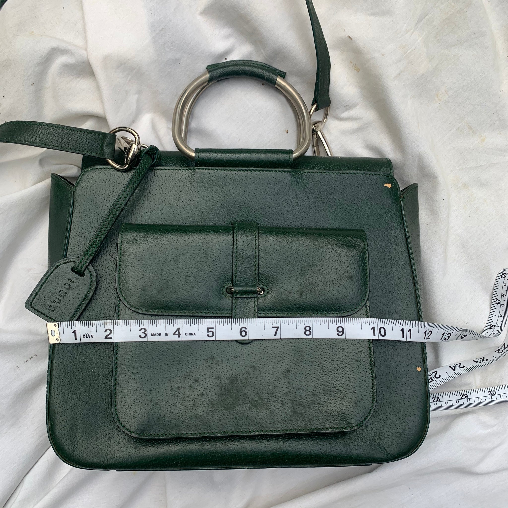 Green Vintage Gucci Satchel Bag W/ Strap - Shop Vanilla Vintage