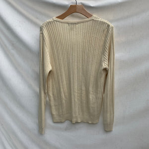 'Leonie' Ribbed Knit Creme Cardigan Sweater (M/L) (NWT)