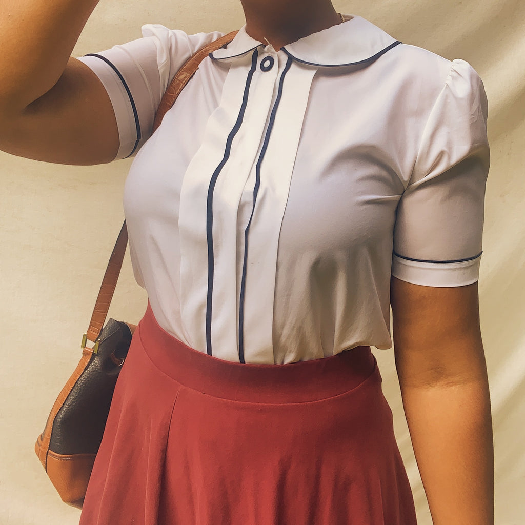 'Jessica' Peter Pan Collar Blouse (L) - Shop Vanilla Vintage