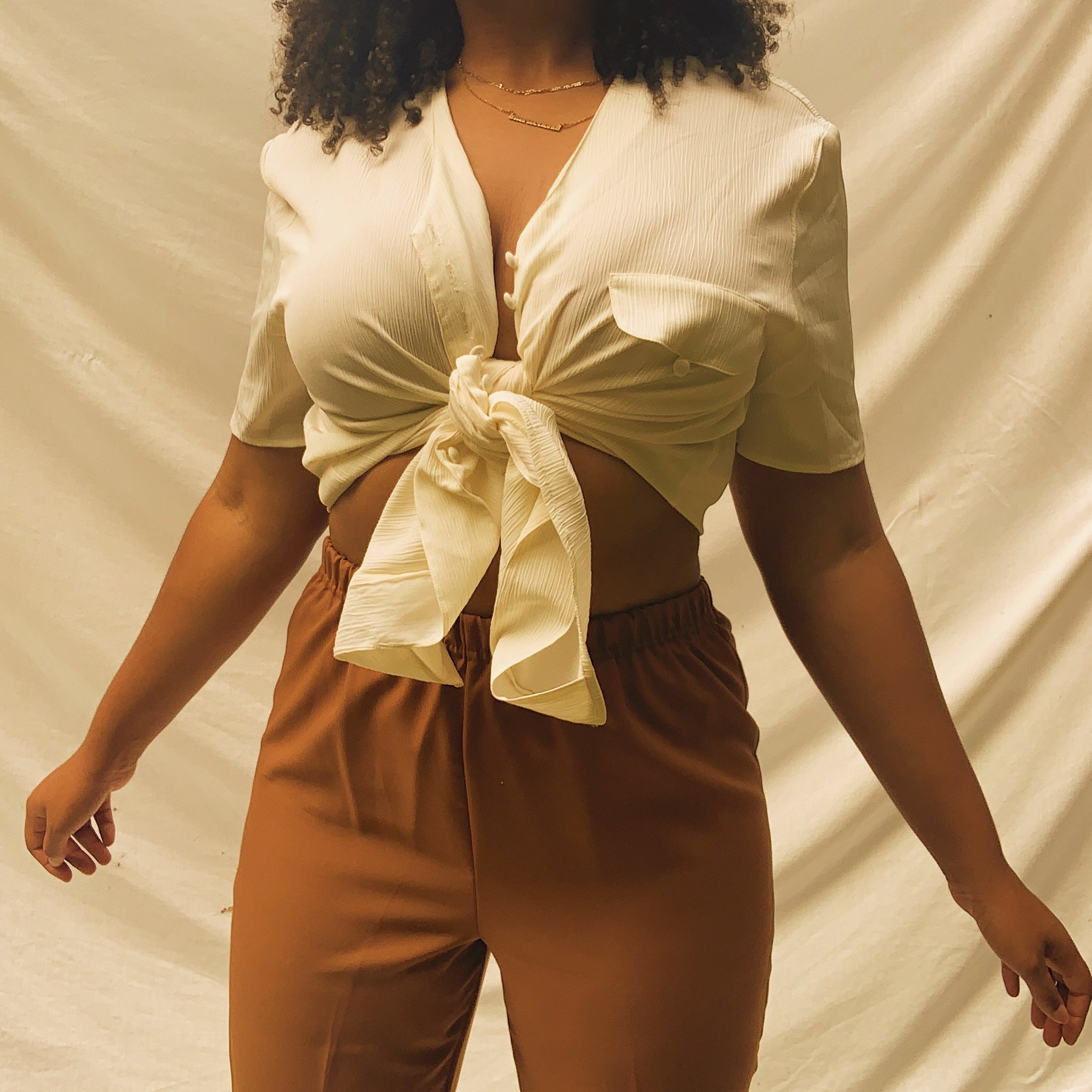 'Wendy' High-Waisted Brown Elastic Pants (L/XL) - Shop Vanilla Vintage