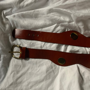 Vintage Genuine Brown Leather Scalloped Gold Disk Belt (M)