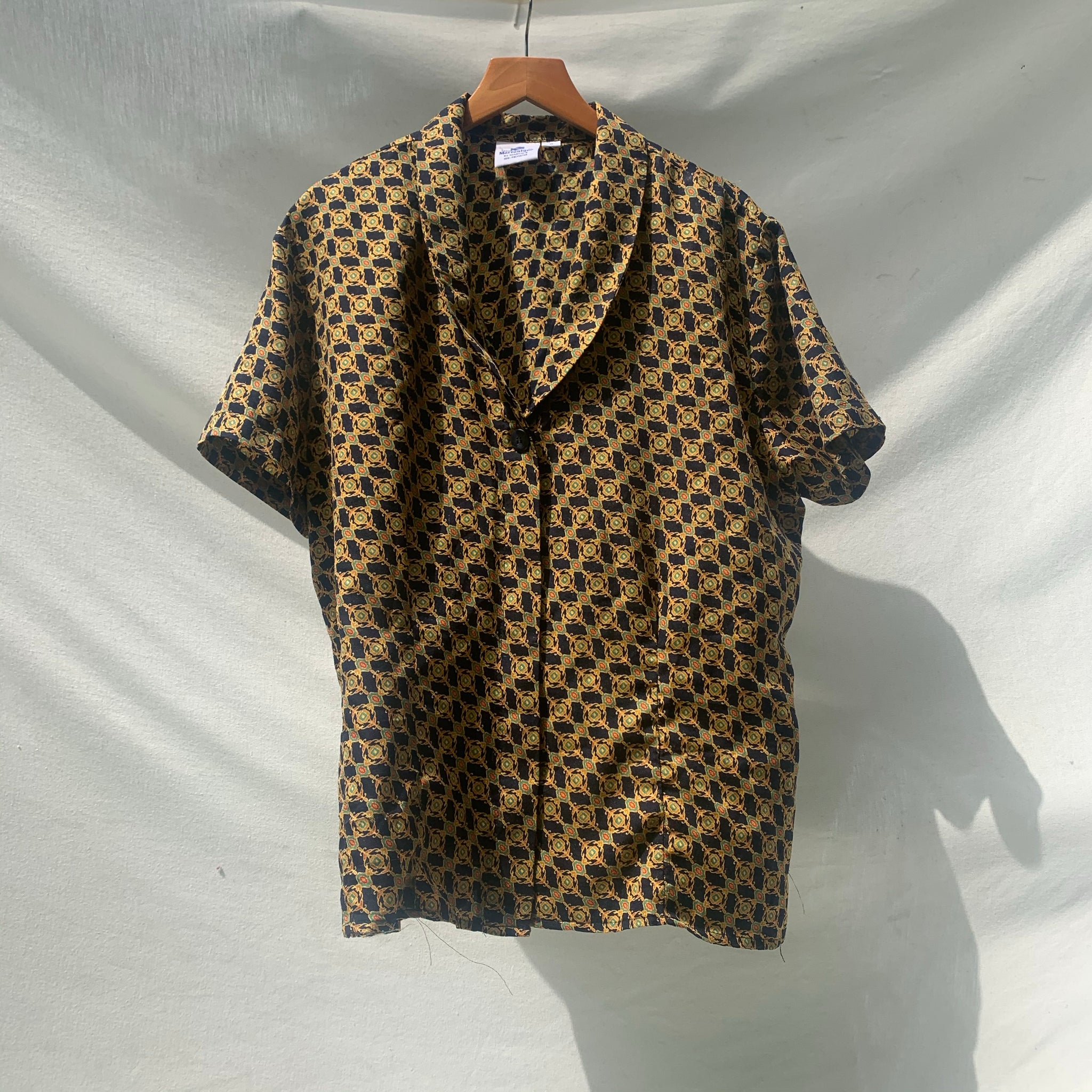 'Martina' Gold Patterned Blouse (One Size) - Shop Vanilla Vintage