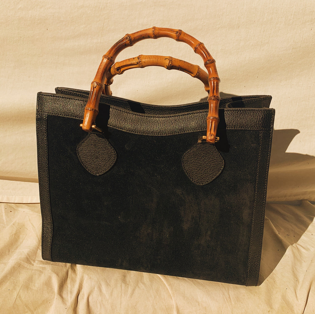 Gucci Bamboo Black Leather + Suede Shopper/Tote Bag (Refurbished)