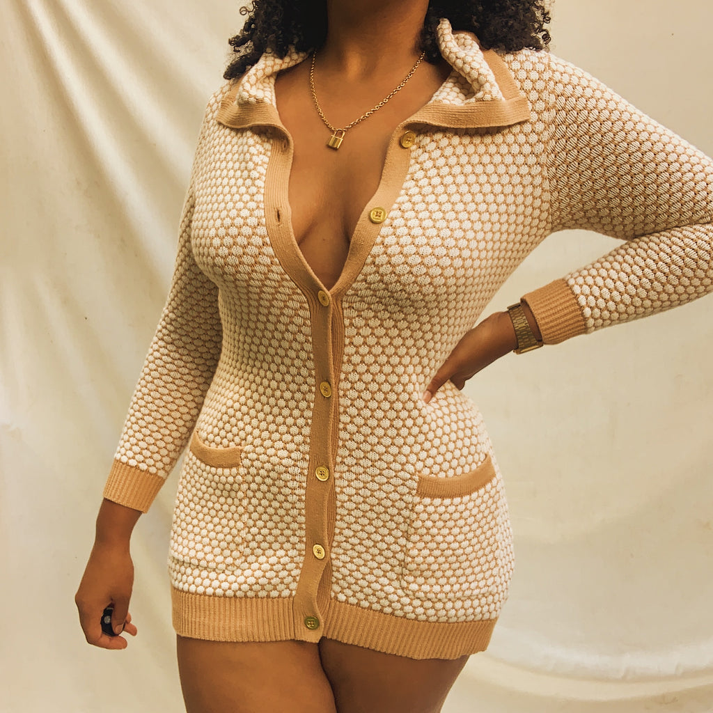 'Claudia' Creme + Tan Patterned Cardigan (S-L)