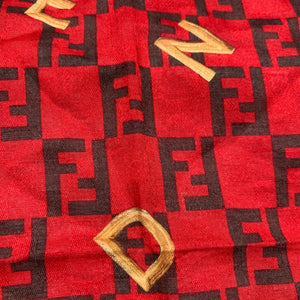 Authentic Red Chain Fendi Zucca Print Square Scarf - Shop Vanilla Vintage